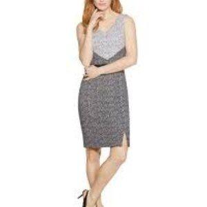 WHBM Sleeveless v-neck colorblock sheath dress 14